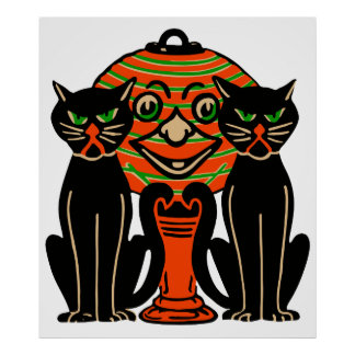 1940 Vintage Halloween Black Cats Poster