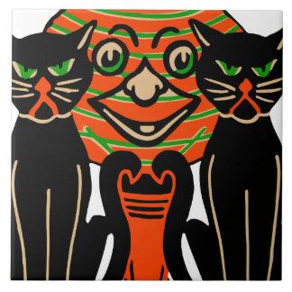 1940 Vintage Halloween Black Cats Tile