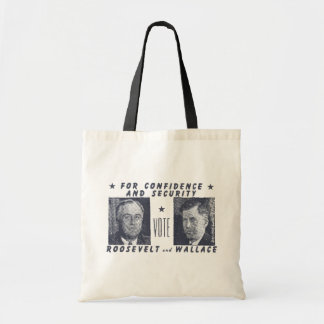 1940 Vote Roosevelt + Wallace, gray Budget Tote Bag