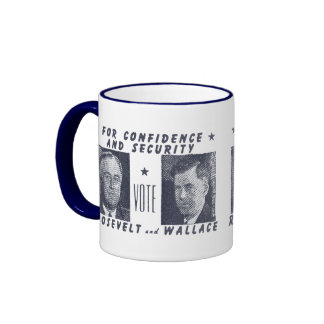 1940 Vote Roosevelt + Wallace, gray Mugs