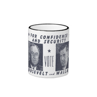 1940 Vote Roosevelt + Wallace, gray Coffee Mugs