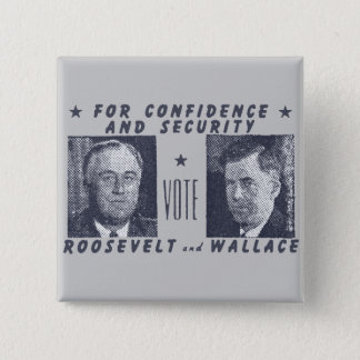 1940 Vote Roosevelt + Wallace, gray Pinback Button