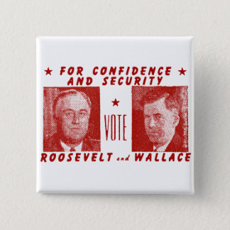1940 Vote Roosevelt + Wallace, red Button