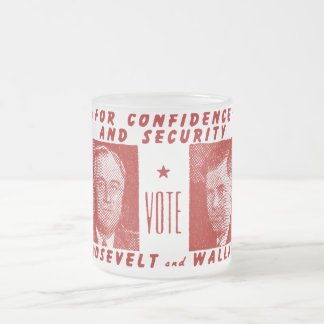 1940 Vote Roosevelt + Wallace, red Frosted Glass Coffee Mug