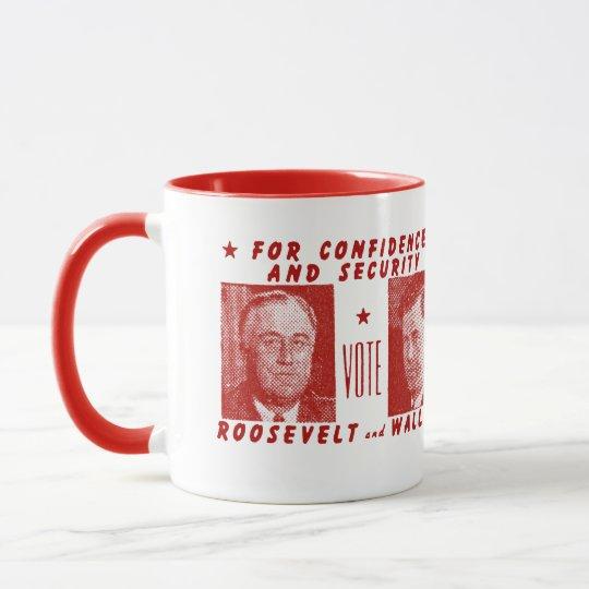 1940 Vote Roosevelt + Wallace, red Mug