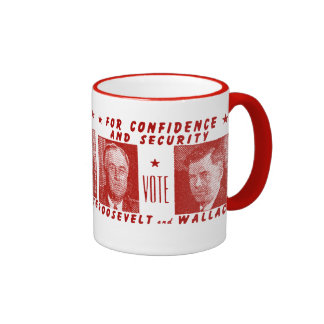 1940 Vote Roosevelt + Wallace, red Coffee Mugs