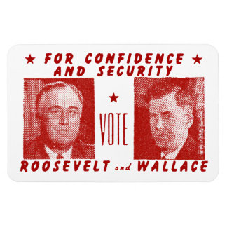 1940 Vote Roosevelt + Wallace, red Rectangular Photo Magnet