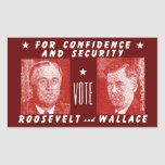 1940 Vote Roosevelt + Wallace, red Rectangular Stickers