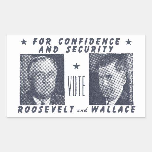 1940 voto Roosevelt + Wallace, gris Pegatina Rectangular
