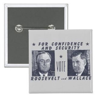 1940 voto Roosevelt + Wallace, gris Pin Cuadrada 5 Cm