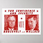 1940 voto Roosevelt + Wallace, rojo Impresiones