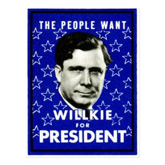1940 WIllkie for President Postcard