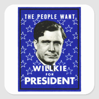 1940 WIllkie for President Square Sticker