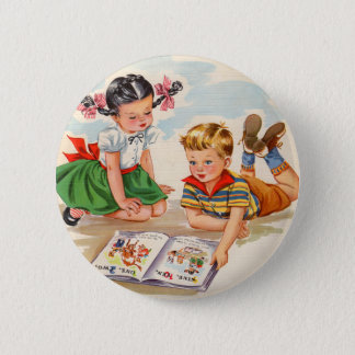 1940s adorable girl and boy and picture book button