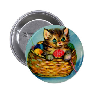 1940s adorable kitten in knitting basket button