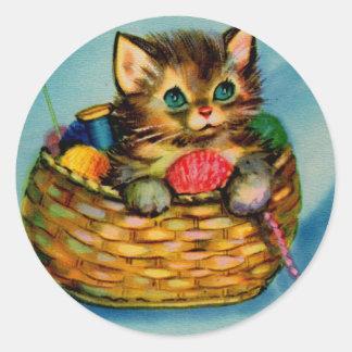 1940s adorable kitten in knitting basket classic round sticker
