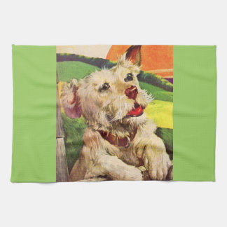 1940s adorable terrier dog hand towels