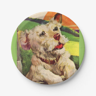 1940s adorable terrier dog paper plate