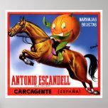 1940's ANTONIO ESCANDELL ORANGES LABEL POSTER