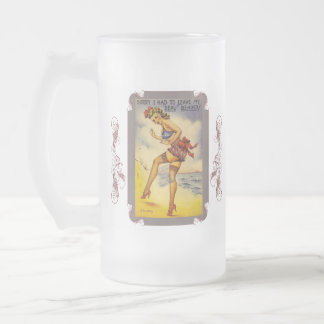 1940s Bathing Beauty Funny Frosted Beer Mug