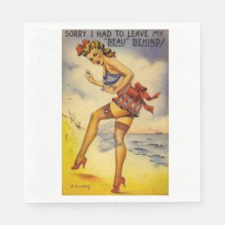 1940s Bathing Beauty Funny Paper Napkin