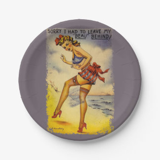 1940s Bathing Beauty Funny 7 Inch Paper Plate