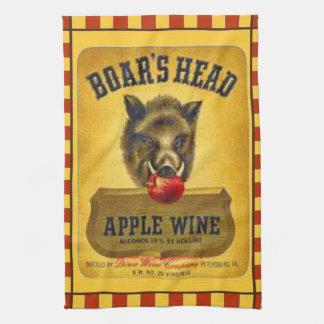 """""""1940's Boar's Head~Apple Wine Label"""" Hand Towels"""
