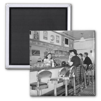 1940s Burger Joint 2 Inch Square Magnet