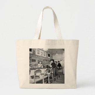 1940s Burger Joint Large Tote Bag