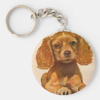 1940s cocker spaniel puppy - The Cutest in History Basic Round Button Keychain