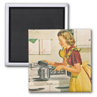 1940s Cooking Housewife 2 Inch Square Magnet