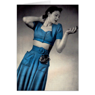 1940s fashion photo bare midriff style card