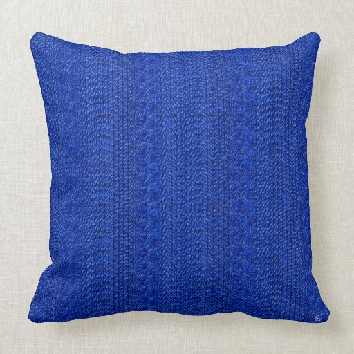 1940s faux cable knit royal blue throw pillow zazzle for Royal blue couch pillows