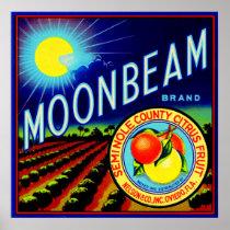 1940s fruit crate label Moonbeam brand citrus Poster