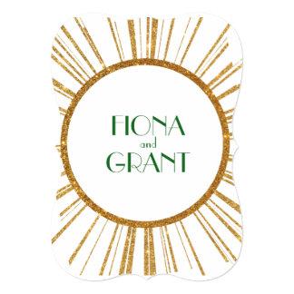 1940's Gatsby Era Vintage Gold Green Invitation