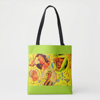 1940s glamour girls print tote bag