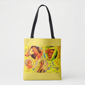1940s glamour girls print tote bag