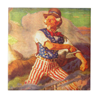1940s heroic Uncle Sam rolls up his sleeves Ceramic Tile