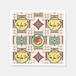 1940s Kitchen Pattern w/Yellow Teapots Paper Napkin