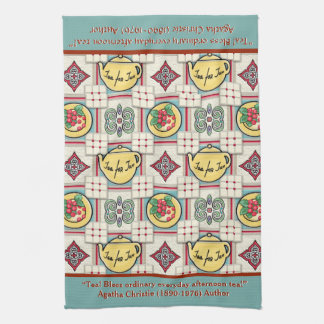 1940s Kitchen Pattern w/Yellow Teapots Personalize Towels