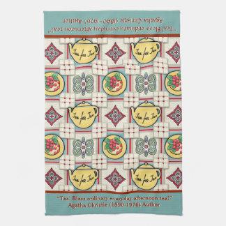 1940s Kitchen Pattern w/Yellow Teapots Personalize Towel