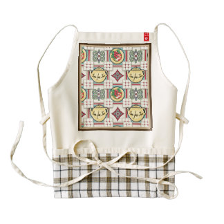 1940s Kitchen Pattern w/Yellow Teapots Zazzle HEART Apron