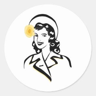 1940's Lady Classic Round Sticker