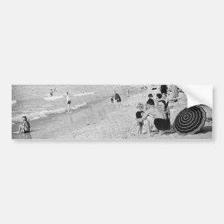 1940's Lake Michigan Beach Scene Bumper Sticker