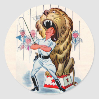 1940s lion tamer and lion classic round sticker
