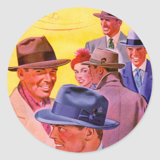 1940s men in hats classic round sticker