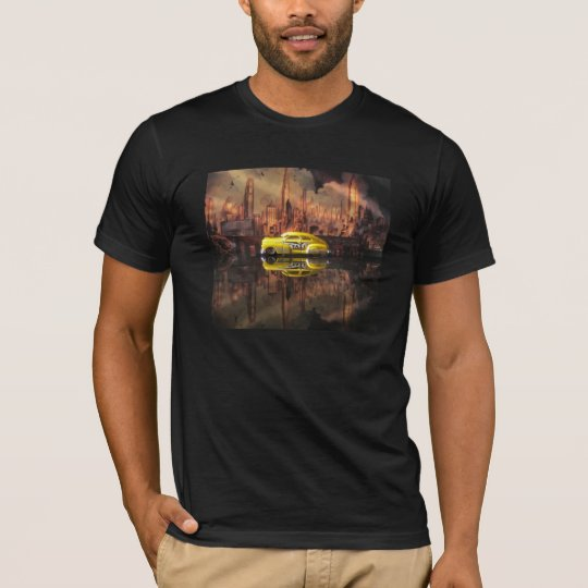 1940s miniature taxi in front of NYC backdrop T-Shirt
