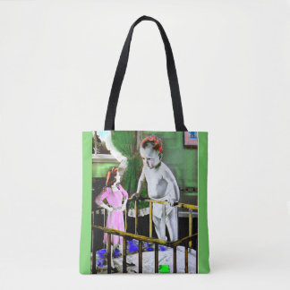 1940s mother and her giant baby tote bag