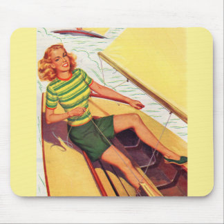 1940s pin-up girl on a boat mouse pad