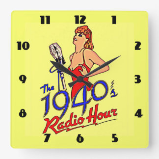 1940s Radio Hour Square Wall Clock